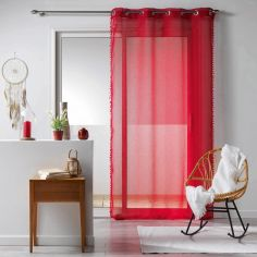 Galoni Eyelet Voile Curtain Panel with Pom Pom Edging - Red