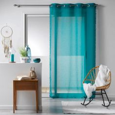Galoni Eyelet Voile Curtain Panel with Pom Pom Edging - Blue