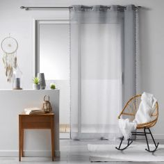 Galoni Eyelet Voile Curtain Panel with Pom Pom Edging - Grey