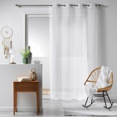 Galoni Eyelet Voile Curtain Panel with Pom Pom Edging - White