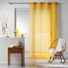 Galoni Eyelet Voile Curtain Panel with Pom Pom Edging - Mustard Yellow