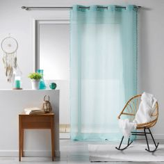 Galoni Eyelet Voile Curtain Panel with Pom Pom Edging - Mint Blue