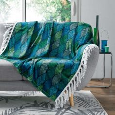Winter Green Printed Flannel Throw with Fringe - Green & Blue