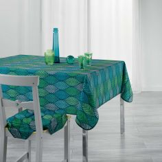 Winter Green Printed Tablecloth - Green & Blue
