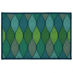 Winter Green Printed Door Mat - Green & Blue