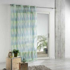 Winter Green Printed Voile Panel with Eyelet Top - Green & Blue