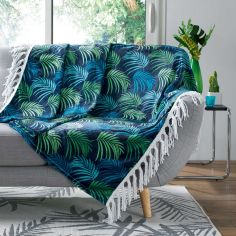 Vegetal Flannel Tasselled Throw with Printed Palm Leaves - Blue & Green