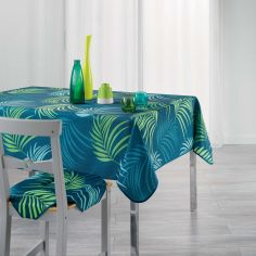 Vegetal Tablecloth with Printed Palm Leaves - Blue & Green