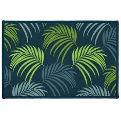 Vegetal Door Mat with Printed Palm Leaves - Blue & Green