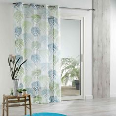 Vegetal Eyelet Voile Panel with Printed Palm Trees - Blue & Green