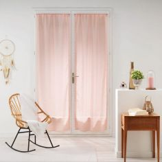 Galoni Pair of Voile Blinds for French Doors with Pom Pom Edging - Pale Pink