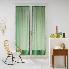 Galoni Pair of Voile Blinds for French Doors with Pom Pom Edging - Green