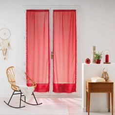 Galoni Pair of Voile Blinds for French Doors with Pom Pom Edging - Red