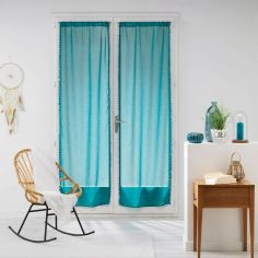 Galoni Pair of Voile Blinds for French Doors with Pom Pom Edging - Blue