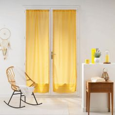 Galoni Pair of Voile Blinds for French Doors with Pom Pom Edging - Mustard Yellow