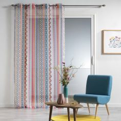 Waxy Multicoloured Voile Curtain Panel with Eyelet Top