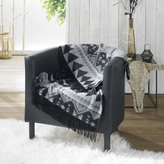 Rodeo Acrylic Jacquard Throw with Fringe - Grey