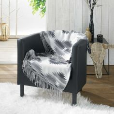 Ranchero Acrylic Jacquard Throw with Fringe - White & Grey