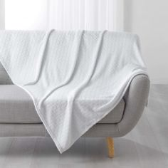 Art Deco Patterned Jacquard Flannel Throw - White