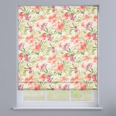 Prado Paprika Orange Exotic Flowers Roman Blind