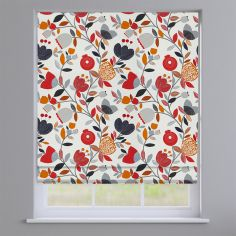 Pomegranate Trail Scarlet Red Modern Floral Roman Blind