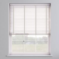 Embossed Faux Wood Venetian Blind With Tape  - Arctic White & Light Grey