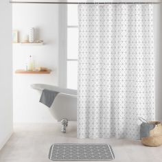 Kubia Shower Curtain with Hooks - White