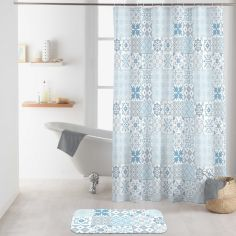 Lagos Shower Curtain with Hooks - Blue