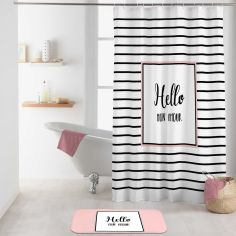 Amour Shower Curtain with Hooks - Black & White