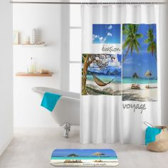 Cancun Photographic Shower Curtain with Hooks - Blue