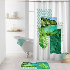 Copacabana Photographic Shower Curtain with Hooks - Green