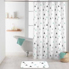 Maddy Shower Curtain with Hooks - Blue & Grey
