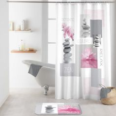 Zenitude Shower Curtain with Hooks - Grey & Pink