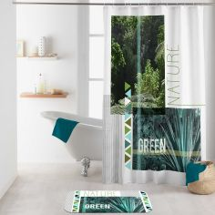 Green Nature Shower Curtain with Hooks - Green