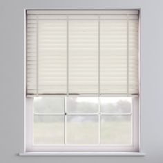 Faux Wood Venetian Blind With Tape - Eggshell Cream & Light Grey