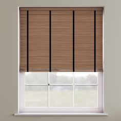 Faux Wood Venetian Blind With Tape - English Oak & Black