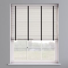 Faux Wood Venetian Blind With Tape - Meringue & Black