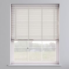 Faux Wood Venetian Blind With Tape - Meringue & Light Grey