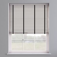 Faux Wood Venetian Blind With Tape - Pearl Grey & Black