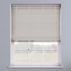 Faux Wood Venetian Blind With Tape - Pearl Grey & Light Grey