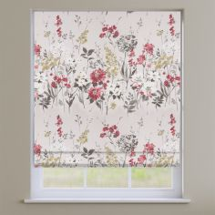 Wild Meadow Ruby Red Floral Roman Blind