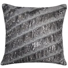Kylie Minogue Eliza Sequin Tassel Filled Cushion - Pewter Grey