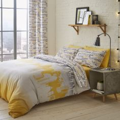 Catherine Lansfield Cityscape Duvet Cover Set - Ochre Yellow