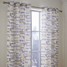 Catherine Lansfield Cityscape Fully Lined Eyelet Curtains - Ochre Yellow Multi