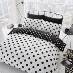 Catherine Lansfield Polka Dot Duvet Cover Set - Black & White