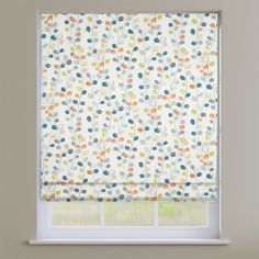 Suri Tangerine Orange Modern Leaves  Roman Blind
