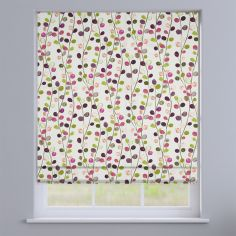 Suri Magenta Modern Leaves  Roman Blind