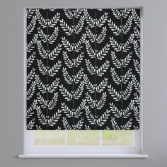 Scandi Spring Noir Black Leaves Roman Blind