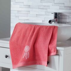 Talisman 100% Cotton Embroidered Towel - Coral Pink
