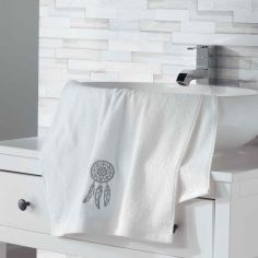 Talisman 100% Cotton Embroidered Towel - White